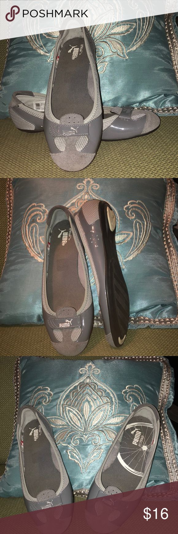 Gray and Silver Puma Flats Puma Flats - Athletic and comfy - Gray  Gently used with sticker marks on both pair of bottoms Puma Shoes Flats & Loafers