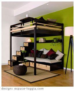 lit mezzanine 2 places espaceloggiacom lit mezzanine. Black Bedroom Furniture Sets. Home Design Ideas