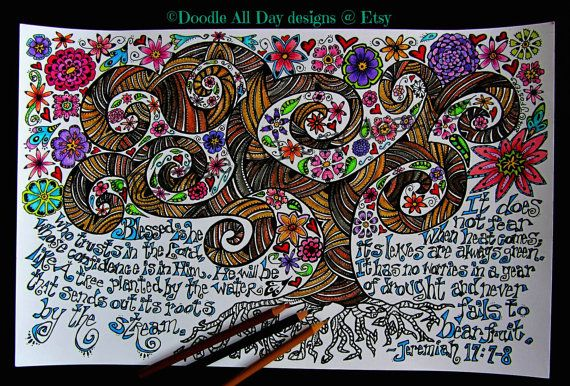 Jeremiah Tree Jeremiah 17:7-8 by DoodleAllDaydesigns on Etsy