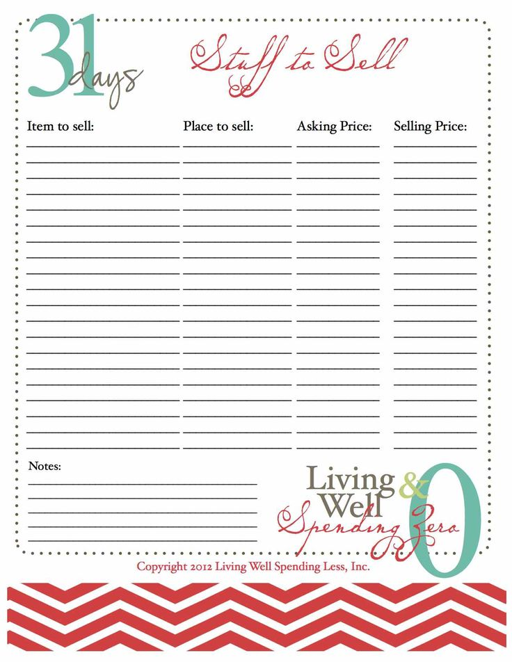 Great tips for how to sell your stuff. ***Fantastic 31days of living well & spending zero - printouts, ideas, evals, etc!