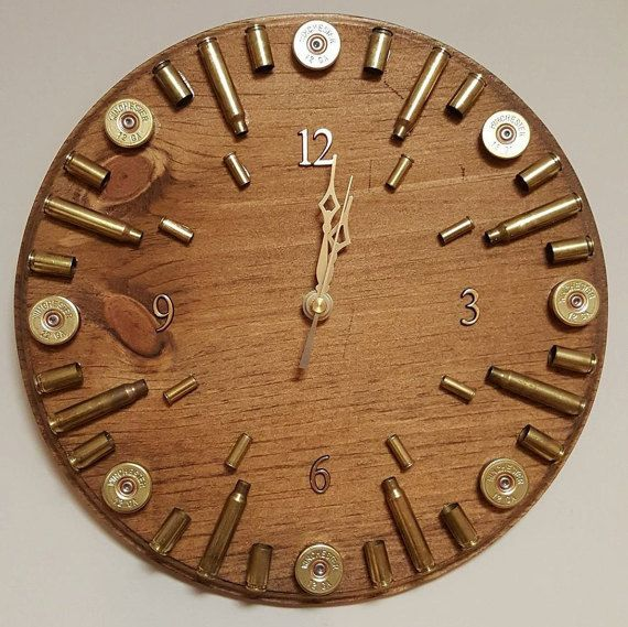 Hey, I found this really awesome Etsy listing at https://www.etsy.com/listing/496079927/hunter-bullet-casing-clock-ammo-home