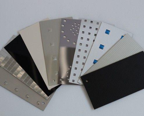 Materialien & Oberflächenbeschichtung by Camicama. Spezialbeschichtetes Polystyrol mit sog. Effektplatten; z. B. matte, glänzende oder spiegelnde Effekte, etc. Design von Objekten.
