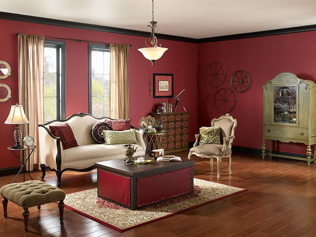 Classy Living Room, Black Living Rooms, Living Room Paint, Home Living Room,  Burgundy Room, Deep Red Color, Steampunk Interior, Steampunk House, Steam  Room