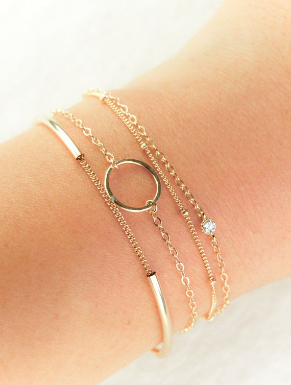 Ho'okele bracelet minimal gold bracelet, layered bracelets, arm party, delicate layers .