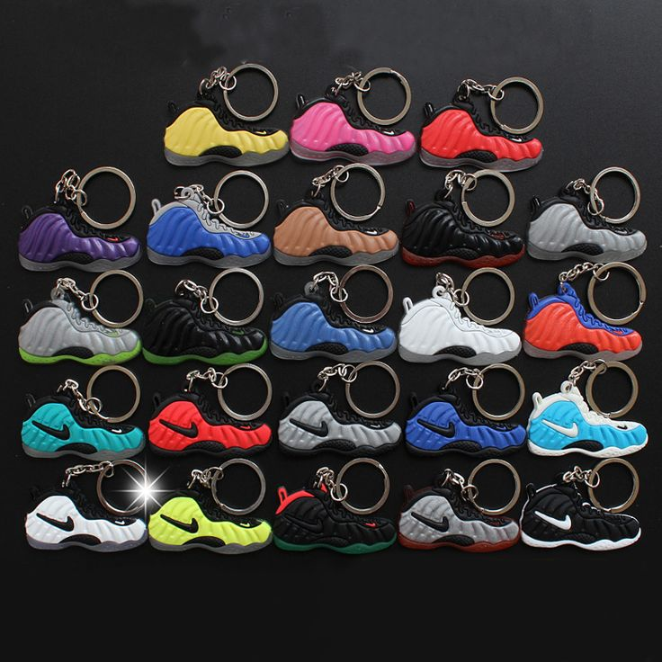 23Pcs/Lot Figure Toys Air Foamposite Keychain Silicone Pendant Sneaker Keychain Kids Key Rings Key Holder Llaveros Chaveiro Port #Affiliate
