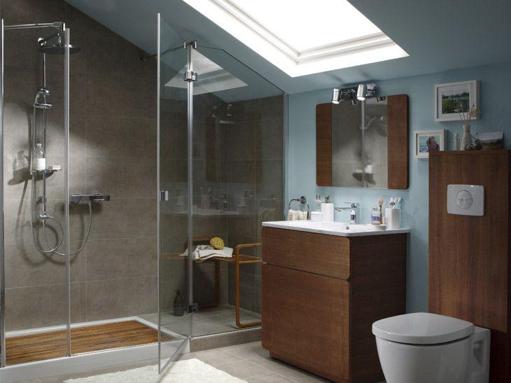 17 meilleures images propos de salle de bains combles - Idee salle de bain sous pente ...