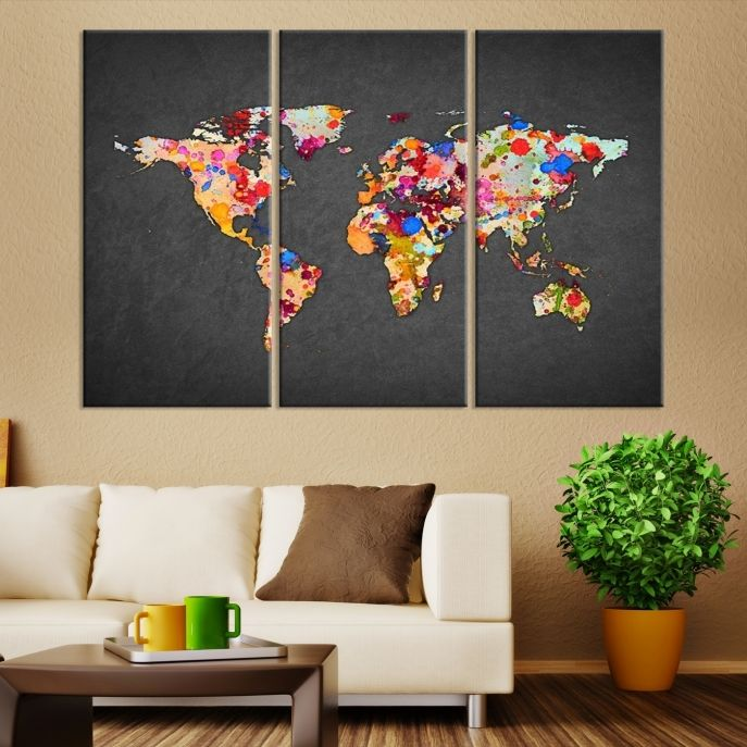 40 best world map canvas images on pinterest extra large wall art colorful splashed gray based world map large wall art canvas mygreatcanvas extra gumiabroncs Gallery