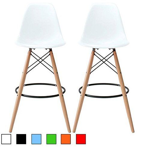 2xhome - Set of Two (2) - White - Eames Chair Style DSW Molded Plastic Bar Stool Modern Barstool Counter Stools with backs and armless Natural Legs Wood Eiffel Legs Dowel-Leg 2xhome
