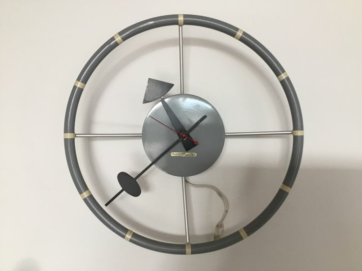 Rare George Nelson Grey Steering Wheel Clock by rockybird on Etsy https://www.etsy.com/listing/502390419/rare-george-nelson-grey-steering-wheel