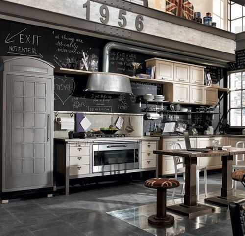 Killer kitchen complete with awesome range, inverted washtub hood, Union Jack stool covers to match London phone booth cabinet.