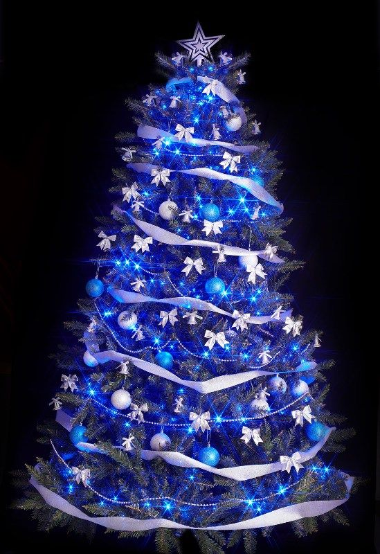 25 Blue Color Theme Christmas Tree Decorations Ideas
