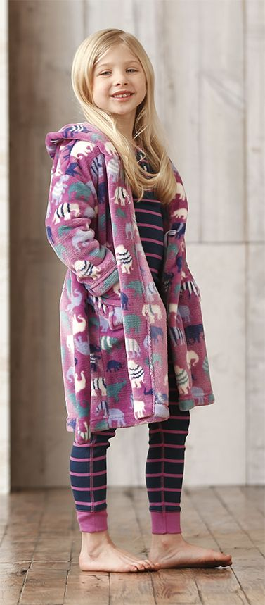 Elephants fuzzy fleece robe! so cozy. #hatley #sleepwear