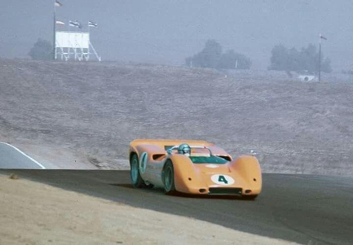 BRUCE MCLAREN - 1967 CAN-AM CHAMPION Entry : McLaren Cars Ltd. Car : McLaren-Chevrolet M6A / s/n #M6A/1, 5871 cc - V8 Rounds Results : 1-Road America Round : Retired (Oil leak, bearings / lap 6) 2-Bridgehampton Round : Second 3-Mosport Round : Second. 4-Laguna Seca Round : Winner. 5-Riverside Round : Winner. 6-Stardust Round : Retired (Blown engine / lap 7) (ph: google.co.uk)
