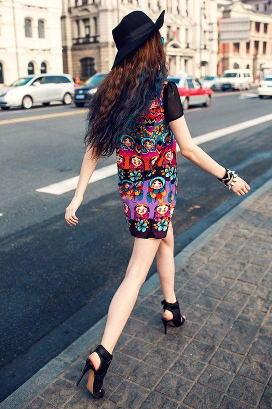 http://www.kalimeramark.ro/rochie-cu-matryoshka-doll-print KalimeraMark magazin online haine pentru femei Rochie cu Matryoshka doll print -
