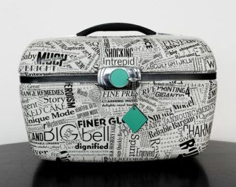 Upcycled Vintage Train Case Decoupaged with Typography Samples Black & White Words