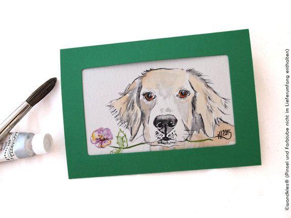 HUNDERBARE LIEBESGRÜSSE - das kleine feine Überraschungsgeschenk zum #Muttertag oder zu Vatertag, Jahrestag oder Valentinstag - nicht nur für Hundebesitzer und Hundeliebhaber #auftragskunst #aquarell #kunst #hahnemuehle #art #westentaschenkunst #dog #hund #retriever #labravor  #horselovers  #Auftragsmalerei #malerei #handgemalt #watercolor #watercolours #watercolour #oswoa #miniatur #etsyresolutionDE #etsyresolution2016