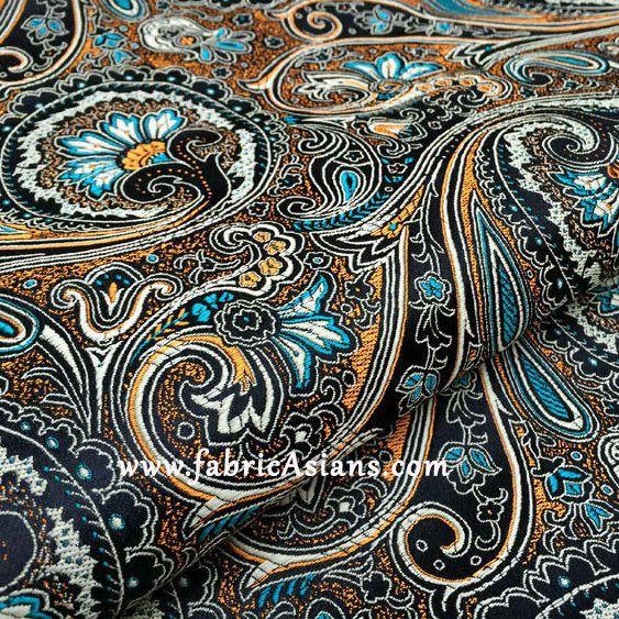 Tissu Paisley Noir. Tissu Oriental. Vendu par 50cm. SBJ100007 : Tissus Habillement, Déco par fabricasians