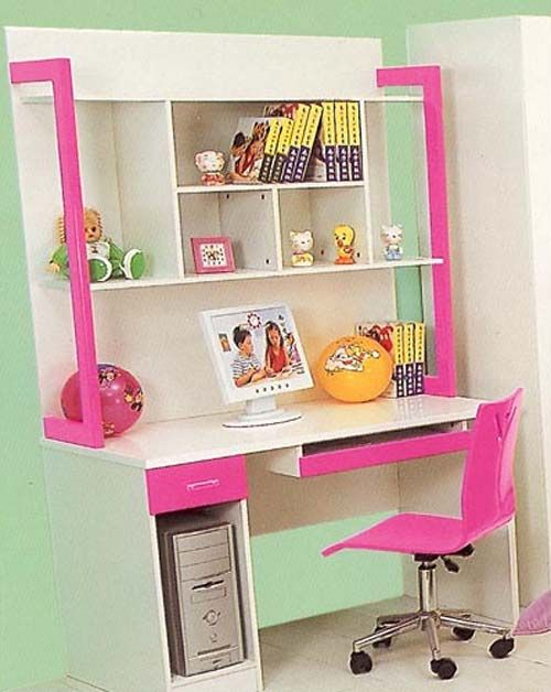 Pink children s study table or desk ideas top design for Bedroom study table designs