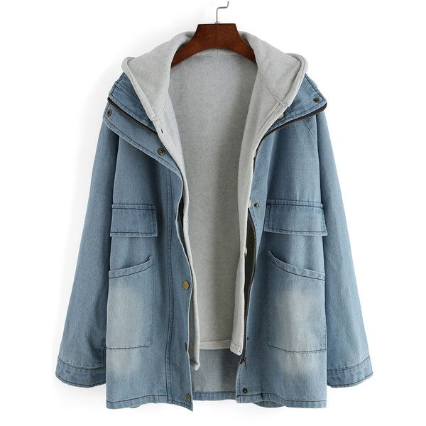 Blue Hooded Bleached Denim Two Pieces Coat ($22) ❤ liked on Polyvore featuring outerwear and coats
