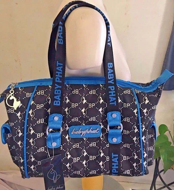 Baby Phat Canvas Tote Handbag Black and Blue Signature Logo Design #BabyPhat #TotesShoppers