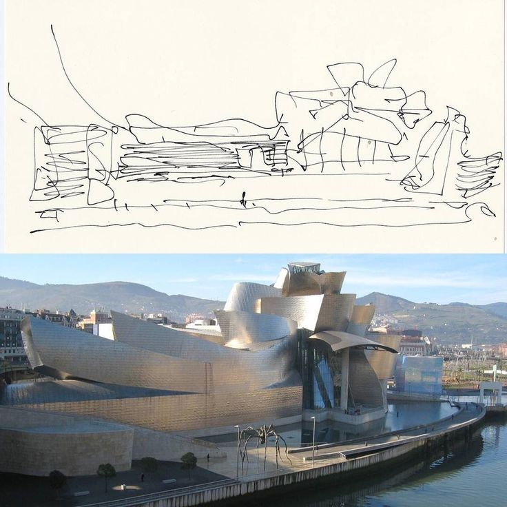 The top image is of architect #FrankGehry's preliminary sketch of the Guggenheim Bilbao and unlike the precise straightedge-reliant drawings one usually sees in an architect's portfolio Gehry's lines are gestural and freeform and hone in on his disregard for specificity in the early design process which is fundamental to his final visions - the energetic abstract creations for which he is known for and can be seen in the final construction of the Guggenheim Bilbao. Over 200 of Gehry's…