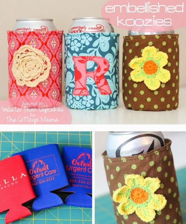 Embellished Koozie Tutorial from The Cottage Mama. Guest post from Sweeter Than Cupcakes. www.thecottagemama.com http://www.lowpricefabric.com/default.aspx