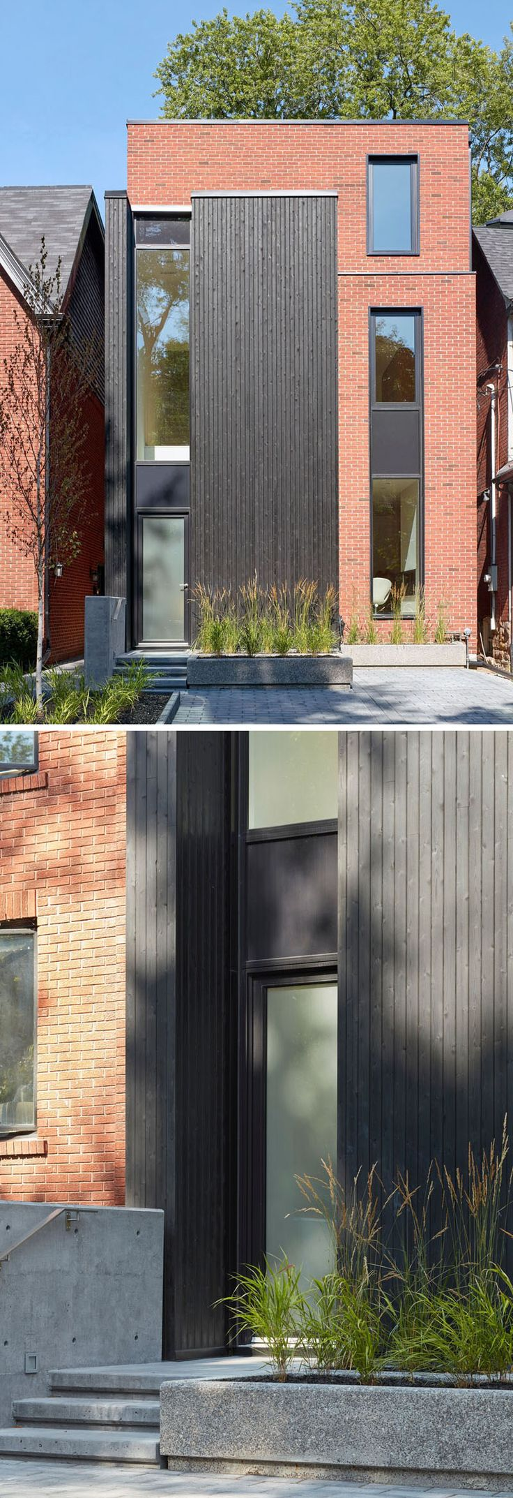 This modern house in Toronto featurestall slender windows with a red brick and black-stained cedar facade. #ModernHouse #BlackCedar #RedBrick #Facade