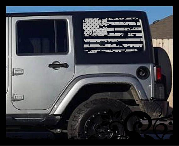 Flag Decal Jeep Wrangler Side Window American Distressed