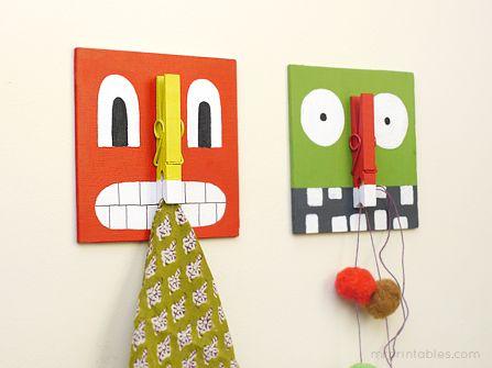 DIY- kids monster clip boards for toys, bags, coats, etc.