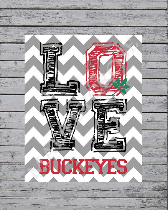 Love Buckeyes Chevron Print OSU Ohio State Buckeyes by MadeByCRose