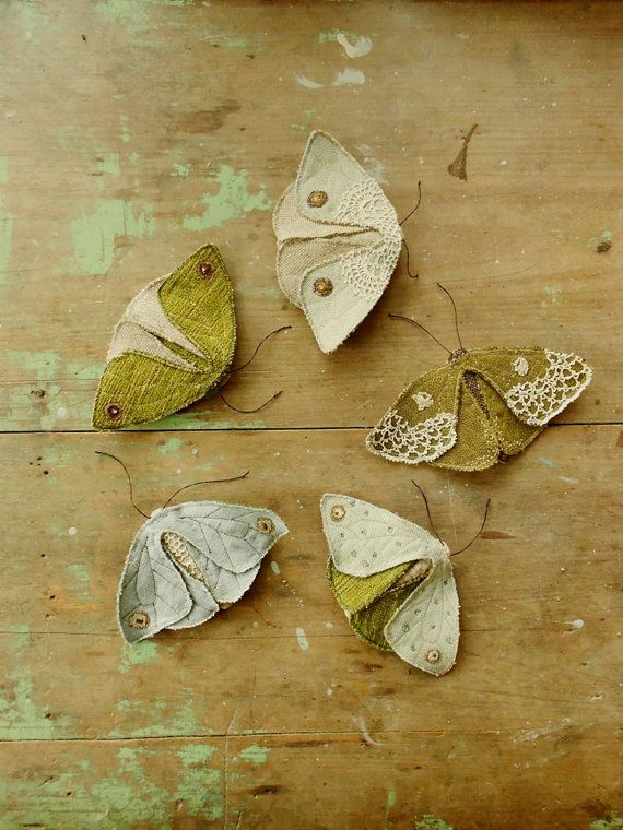 Fabric moths set of 4 / recycled / brooch / textile by willowynn