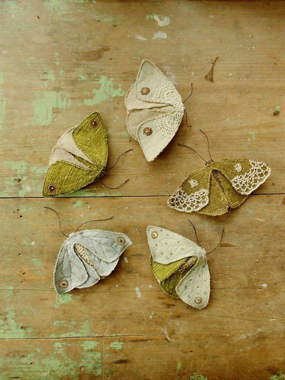 Fabric moths set of 5.