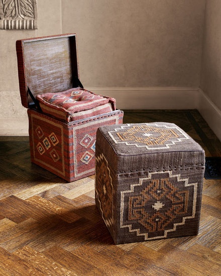 Triple Threat: Stylish Ottomans: A Southwestern design and a nailhead trim make this cube ottoman ($399) stand out.