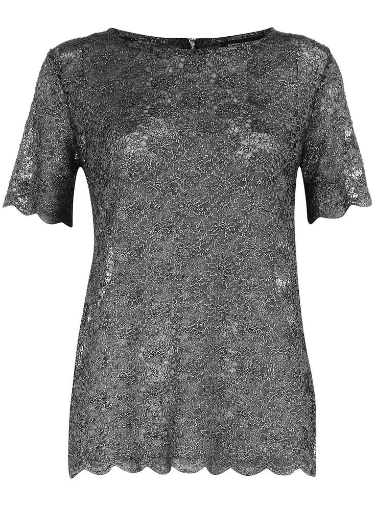 Dorothy Perkins | T-shirt en dentelle | http://www.rienasemettre.fr/shopping-list/t-shirt-metallise-femme-dentelle-dorothy-perkins/