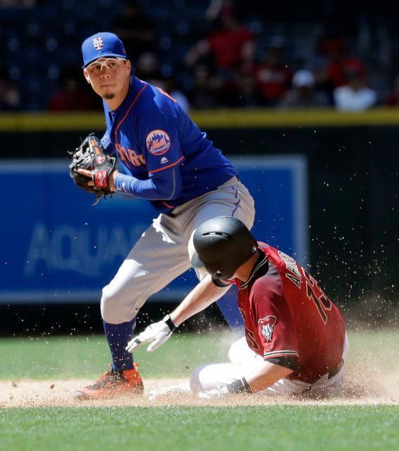 Arizona Diamondbacks Nick Ahmed 13 Is Forced Out At Second By New York Mets Wilmer Flores As He Breaks Up A Double P Baseball Workouts Baseball Baseball Camp