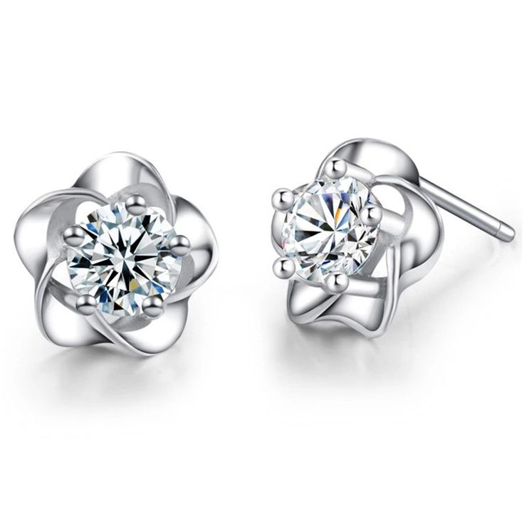 Women's Crystal Flower Earrings Small Cute Plum Flower Stud Earrings for Women Girls Kids Earrings with Stone Gift