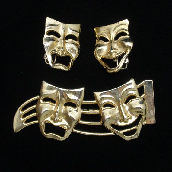 Comedy Tragedy Theater Masks Pin & Earrings Set