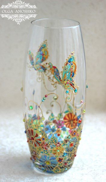 """Vase """"Flying Butterfly"""". Stained glass painting. by RomanticArtGlass on Etsy https://www.etsy.com/uk/listing/265259818/vase-flying-butterfly-stained-glass"""