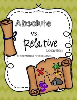 This quick activity will help students practice determining the difference between absolute and relative location. It can also serve as a reference page for students to look back at. It is meant for students learning very basic absolute and relative locations.