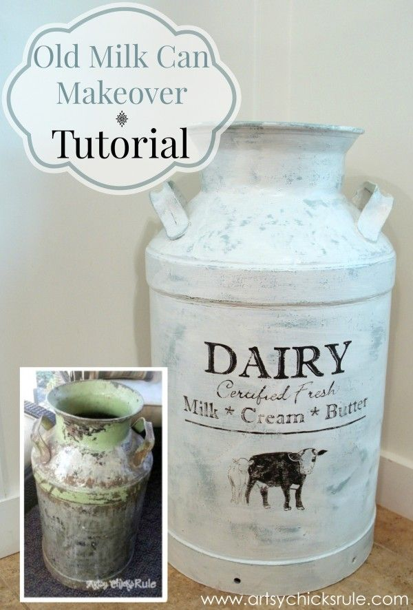 Old Milk Can Makeover - artsychicksrule.com #milkcan #diy