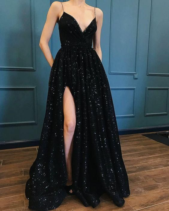 black prom dress,spaghetti straps prom gown,sexy prom dress,sequin prom dress with split M2005