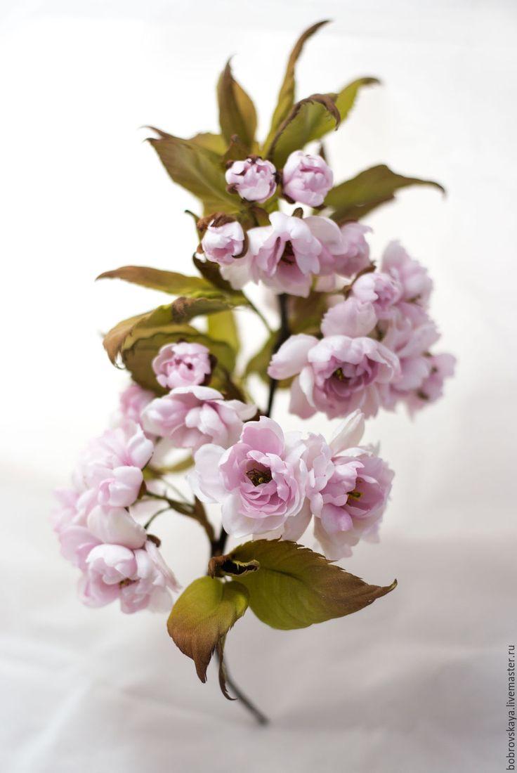 Купить Веточка цветущей сакуры. Цветы из шелка - бледно-розовый, сакура, шелк