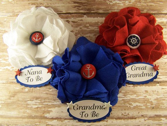 3 Nautical Baby Shower Corsage Any Name Nautical by BloomingParty