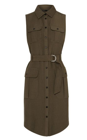 Jacquard safari shirt dress