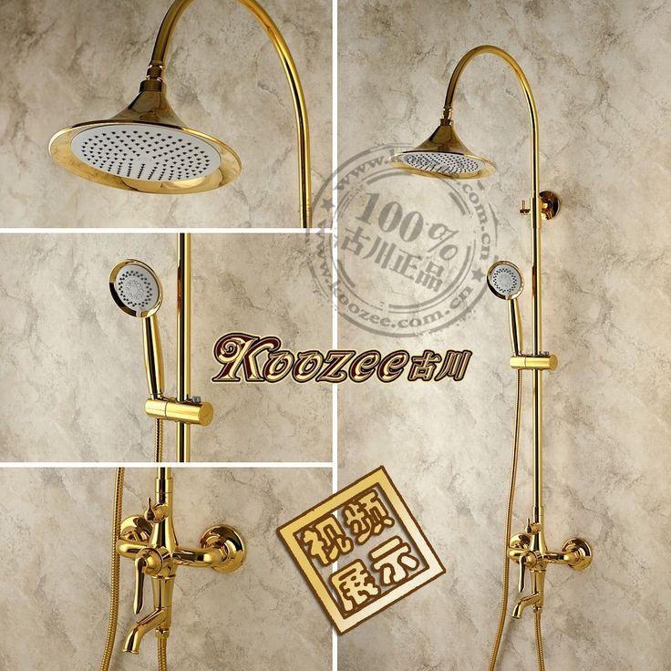 Vintage fashion gold shower faucet antique shower down shower nozzle set copper