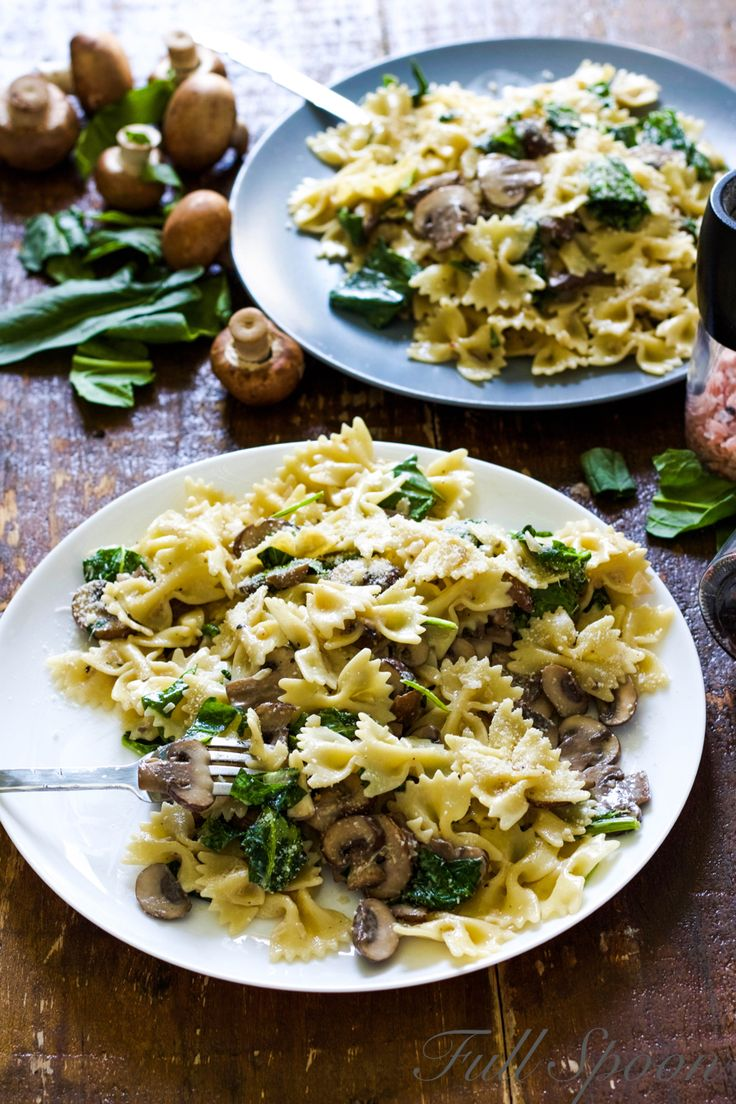 http://fullspoon.ru/2016/03/28/паста-грибами-шпинатом/ Паста с грибами и шпинатом. Рецепт пасты.