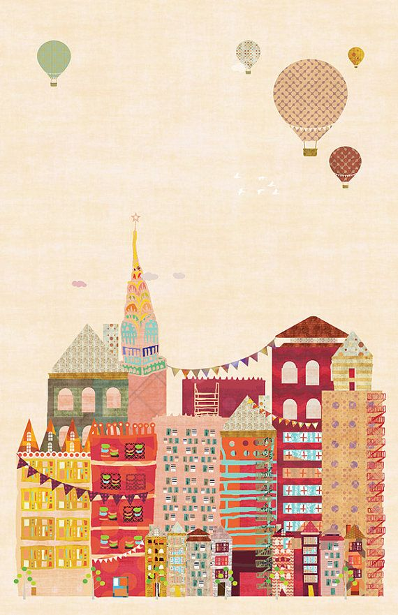 Fun Print....New York City, NYC - INSTANT DOWNLOAD - Poster 11x17 inch on Etsy, $10.00 #summerinthecity #modernnursery