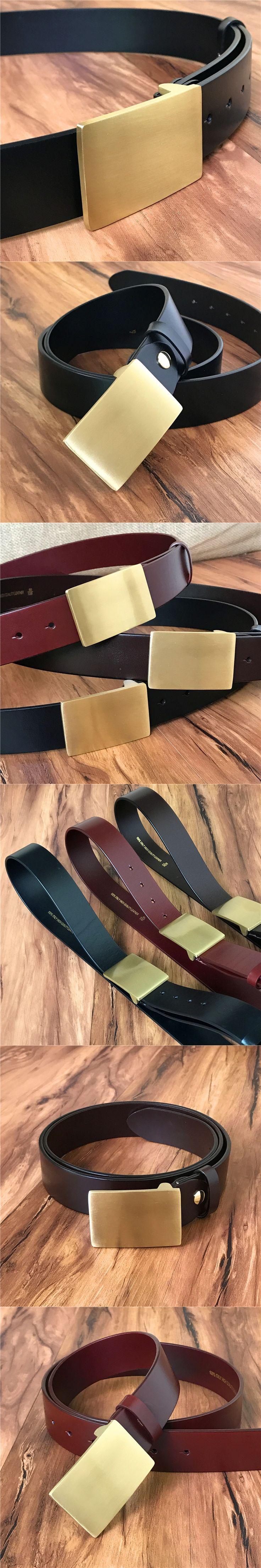 Genuine Leather Solid Brass Belt Buckle Men Belt Ceinture Homme Male Strap Cinturones Hombre Jeans Vintage Belt Wide MBT0315