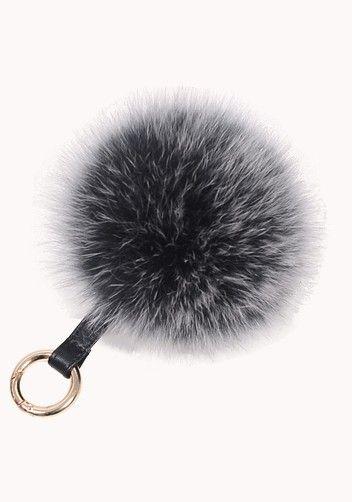 Plush Ball Fox Fur Bag Charm Key Ring Black