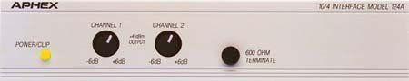 Aphex Model 124A Amplifier Accessory by Aphex. $249.00. The Aphex Model 124A Audio Level Interface is designed to allow use of -10dBV consumer hi-fi equipment with +4 or +8dBm professional / industrial / broadcast audio systems. It provides an extremely clean, reliable two-way buffer so both systems can operate at maximum performance levels, matching impedances and operating levels. INPUT Servo-balancing means that high common mode voltages, such as induced hum fro...